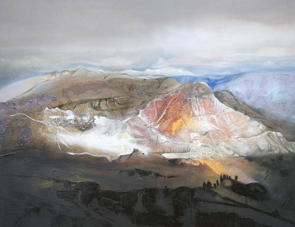 peinture montagne enneige